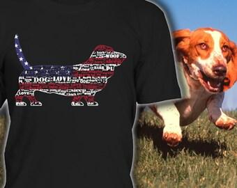 Basset Hound Shirt USA Flagge - perfektes Geschenk für Liebhaber der Basset Hound - Basset Hound Dog T Shirts - Basset Hound Kleidung
