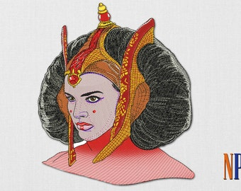 Padme Amidala machine embroidery design. Star Wars patch. Embroidery file