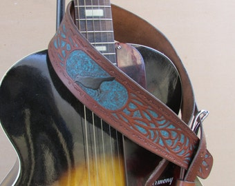 """Custom Hand Tooled Leather Guitar Strap, Made To Order, Adjustable to Size Requested, 2 1/2"""" Wide"""