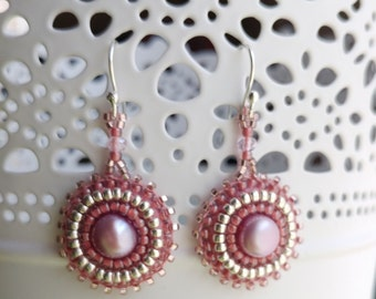 Pink Pearl Bead Embroidered Earrings