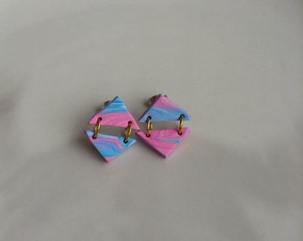 Pink and Blue Marbled Drop Earrings-  Handmade Polymer Clay Earrings made by Bonita & Co