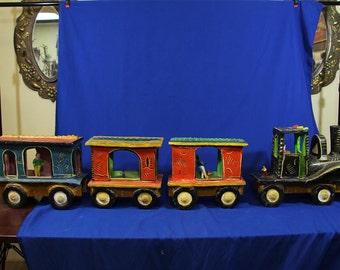 Antique Folk Art Clay Train Set by Candelario Medrano