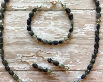 Iolite Gemstone Set, Natural necklace, Gemstone necklace, Healing jewelry, Gemstone therapy jewelry, iolite stone, third eye chakra stone
