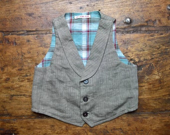 Herringbone Waistcoat, pure linen