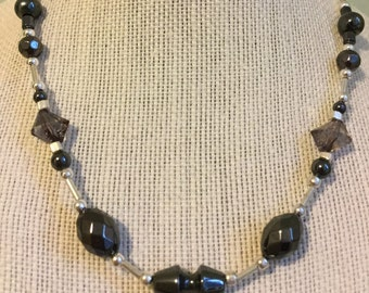 """Upcycled Jewelry """"Gunmetal"""" Beaded Necklace - Made with Vintage/ Recycled Materials"""