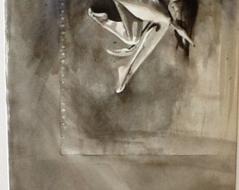 Female figrative dance study, original ink painting and collage on A1 paper.