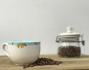 Dainty Floral Banded. Hand Painted Cappuccino Cup.