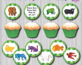 Brown Bear Cupcake Toppers, Brown Bear Party Decoration, Brown Bear Birthday Party Deocration, Brown Bear Printable, Brown Bear Circles