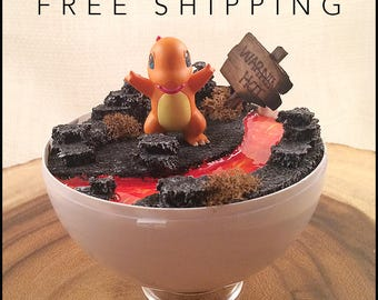 Small Pokeball Terrarium - Charmander, Pokemon, Pokeball, Gift