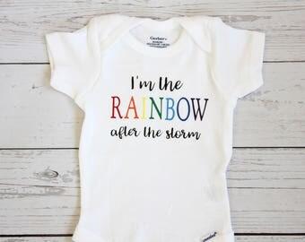 Rainbow baby onesie, I'm the rainbow after the storm onesie| Rainbow baby, Rainbow bodysuit, Baby girl onesie, baby boy onesie