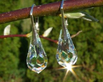 Swarovski Teardrop Earrings Crystal AB Leverback Wedding Crystal Swarovski Earrings Clear AB Teardrop Earrings Leverback Swarovski AB