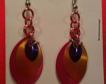 Pink/Gold/Purple 3 Graduated Scale Earrings