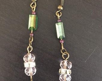 Mint Green Delicate Rose Dropdown Earrings
