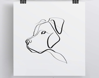 Pit Bull Art | Pit Bull Print | Pit Bull Gift | Minimal One Line Art | Pitbull Art Print | Dog Print | Simple Dog Art | Pet Print | Dog Love