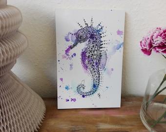Art-print, print, art, illustration, decor, print, animal, cute, watercolour style wood, wall art posters, home, seahorse, sea, maritim