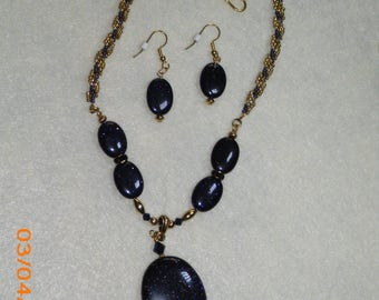 Blue Goldstone w/Blue & Gold twisted Seed Bead Necklace