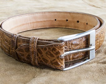Crocodile printed leather belt handmade classical belt, gift for him, birthday gift, romantic gift,