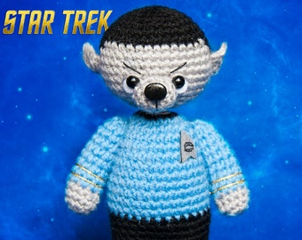Mr. Spock Knitted bear Star trek Brown toy bear Knitted teddy bear Toy bear Crochet bear Knitted teddy Knitted Toy serial space