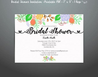 Floral Bridal Shower Invitation Printable