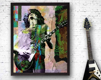 Jimmy Page, Led Zeppelin, Jimmy Page Art, Led Zeppelin Art, Robert Plant, Jimmy Page Guitar, Guitar Player, 60s Music, Rock Band Prints