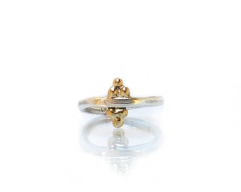 Handmade Sterling Silver and 9ct Gold Granule Pyramid Ring
