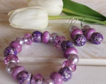 GRAPE FIZZ - Purple Glass Lampwork Bracelet with Matching Earrings
