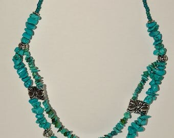 Turquoise Necklace with Sliver-colored inserts, Handmade, Elegant and Distinctive