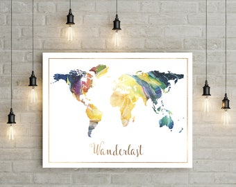 World Map Wall Art, World Map Print, Watercolor World Map Adventure Time Adventure Awaits Best Selling Items World Map Poster Watercolor Map