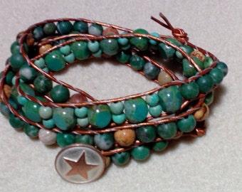 Bronze Leather Three Wrap Bracelet