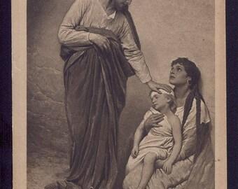 Jesus Healing the Sick, Vintage Christian postcard, Jesus Christ, Religious greeting card
