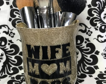 Gold Makeup Brush Holder