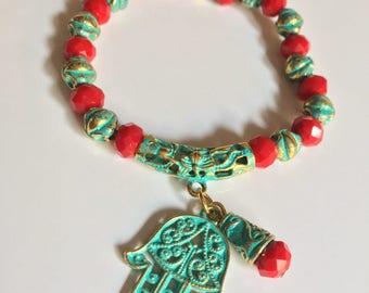 Red green Hamsa bracelet