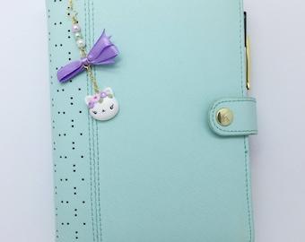 Planner charm, cat, purple, beads, flowers, Ribbon, polymer clay - jewel planner cat, purple, pearls, ribbon, polymer clay, flowers