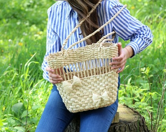 Summer Bag, Summer Straw Bag, Handmade Straw, Straw Bag,  Summer Tote, Long Handles, Tote Straw Slim Bag, Slim Summer Bag, Handmade Summer