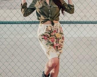 Vintage 80s Floral Pencil Skirt