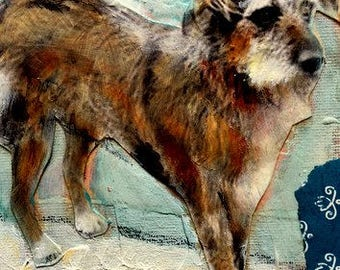 Painting mutt dog original  mixed media  on canvas Heather Murray