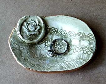 Ceramic Ring Dish Sage Green lace edged in gold
