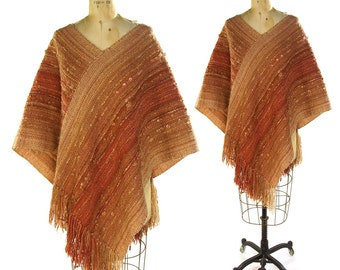 Handwoven Hand Dyed Wool Poncho Vintage Handmade Fringed Shawl Textile Art to Wear Hippie Boho Ethnic Bohemian Artisan Made One of a Kind