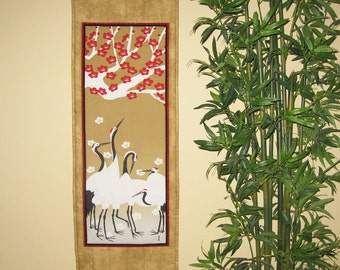 Quilted Wall Hanging Cranes and Plum Flowers Japanese Asian Design Tenugui Scroll Size