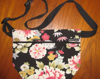 Japanese Peonies Design Ladies' Waist Fanny Pack Pouch Black