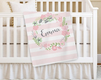 "Personalized Baby Blanket, ""The Swanky Blankie"" Girl Baby blanket, Receiving Blanket, Crib Blanket, Swaddling Blanket, Baby Shower Gift"