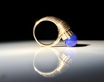 Atomic 14K Gold and Blue Stone Bead Ring - 10.8 grams - Size 5.25