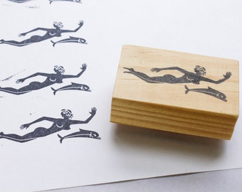 jacques cousteau rubber stamp / ocean stamp / ocean gifts