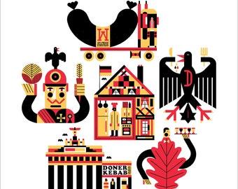"German Eats 17x19"" Art Print by Raymond Biesinger"