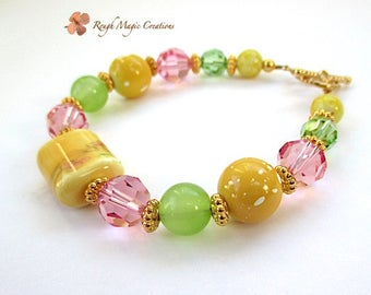 Spring Colors Bracelet Yellow Green Pink Multicolor Bracelet, Gold Toggle Clasp, Floral Theme, Colorful Gift for Her, Present for Women B246