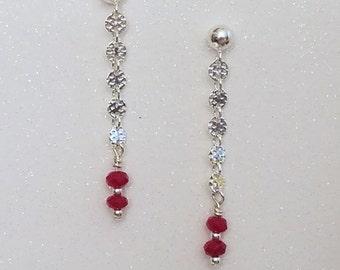 E1115 Ruby on Chain Earrings July Birthstone