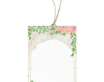 Floral Macrame Gift Tags - Set of 12 - Includes String