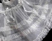 Elegant White Tulle Baby Infant Doll Dress Puff Sleeves Netted Swiss Dot Collar Lace Trim Pleats Scalloped Lace Edge Skirt Silk Bow Accents