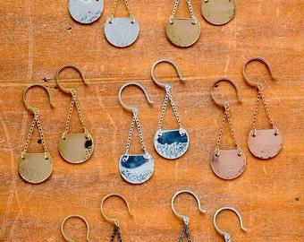 Barnacle Earrings - gold dappled earrings, silver dappled barnacle earrings, rose gold nautical earrings, E30/31/32