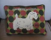 Vintage Cross Stitch Terrier Pillow